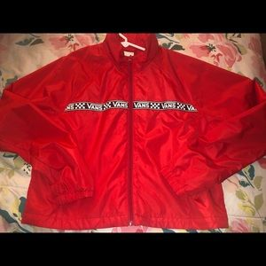 Cropped Vans Windbreaker in Red
